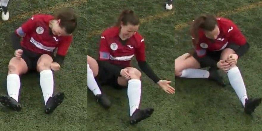 Kadın futbolcu diz kapağını yerine böyle taktı!