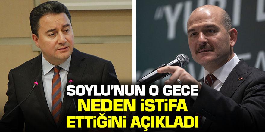 Ali Babacan, Süleyman Soylu'nun neden istifa ettiğini açıkladı