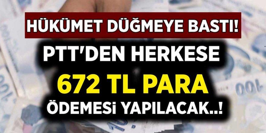 Hükümetten Müjde! PTT'den 672 TL Para Ödemesi Yapılacak!